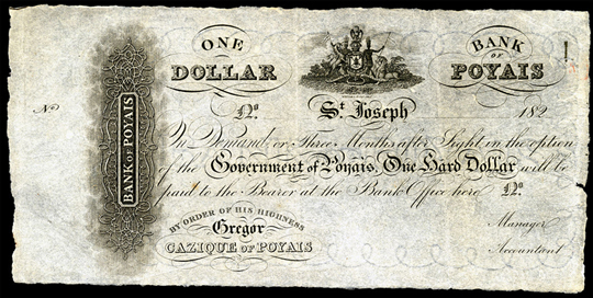 Un « dollar » émis par la banque du Poyais