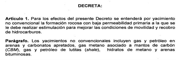 Imagen N° 4: Definición de No convencional – Decreto 3004 -2013 – Ministerio de Minas.