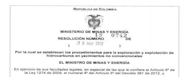 Imagen N° 3: Resolución N° 180742 de 2012 -Ministerio de Minas