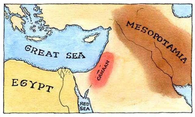 <span lang='es'>Mapa: Mar grande; Mesopotamia; Egipto; Canaán; Mar Rojo</span>